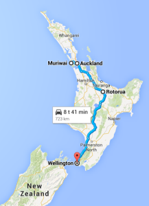 Route North Island New Zealand
