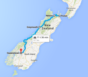 Route South Island New Zealand